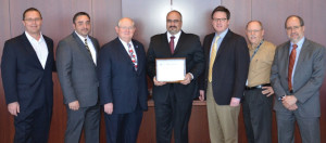 The COS presented Pacific Drilling with a SEMS certificate in March. On hand for the presentation were (from left) Paul Linkin, Pacific Drilling VP QHSE; Nick Pruitt, Pacific Drilling QHSE Superintendent; Charlie Williams, COS Executive Director; Louis Scavone, Pacific Santa Ana Rig Manager; Tony Seeliger, Pacific Drilling SVP Operations; Neil Campbell, Pacific Drilling Director Corporate HSE; and Jorge Hercules, BVC VP of Certification.