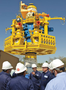 In April 2011, then-Interior Secretary Ken Salazar and then-MWCC CEO Marty Massey reviewed the company's interim containment system capping stack with industry and government officials in Houston.