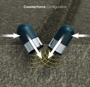 The  CounterForce PDC bit utilizes a staggered cutter configuration inspired by the machining industry to improve mechanical specific energy. The cutting structure features pairs of cutters with opposing side rakes (angles), which allows the bit to harness reactive forces from the formation to counter lateral forces from the drillstring.