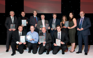 At the IADC NSC's annual Safety Awards Ceremony, back row (from left) are Eddie Fowler, Odfjell Drilling; Neil Burr, Falck Safety Services; Lee Reborse, then-NSC Chairman; Eric Holmes, Ensco; Adrian Blake, Transocean; Nicola Riddel and Eilidh Shaw, North Atlantic Drilling; and Jim Paterson, KCA Deutag. Front row (from left) are Mike Brumfield, Awilco Drilling; Pete Thomson, on behalf of Awilco Drilling; Hans Krielen, Noble Drilling; and Tony Rhodes, Stena Drilling.