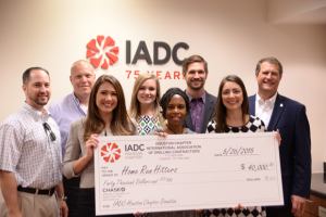 On 2 June, the IADC Houston Chapter donated $40,000 to Home Run Hitters International. From left are Brian Townsend; Jeff Kessler, Houston Chapter Chairman; Christine Thorp, Par Petroleum Corp; Leslie Packard, IADC; Dr Deborah Carr, Home Run Hitters; Andrew Gordon, Cameron; Allison Fraser; and Scott Gordon, Helmerich & Payne.