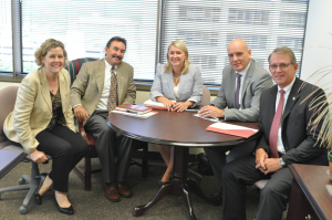 Lori Wrotenbery (from left), Director of the RRC's Oil & Gas Division, meets with Mike Garvin, VP of the IADC Onshore Division; Liz Craddock, IADC VP – Policy and Government Affairs; Mr Colville; and Mark Denkowski, IADC Executive VP – Operational Integrity.