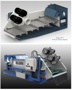 Top and Bottom: The Elgin Hyper-G shaker's waterfall technology protects each screen's seated position, allowing drilling fluid to fall on the overlapping screens past the position of the rear gasket, shielding the gasket from solids bypass. The four-panel shaker was launched this year at OTC.
