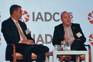 Top: Taf Powell (right), IADC Executive VP of Policy, Government and Regulatory Affairs, and Dave Scallan, Principal at Spoken Word Communications, participate in a panel session at IADC World Drilling 2015 in Rome. The session, titled Connect, Collaborate and Create, focused on ways the industry can communicate internally and with outside stakeholders.