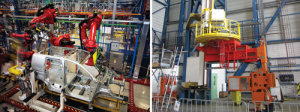 The cost savings, efficiency and safety of robots used in auto manufacturing (left) were transferred to the manipulator arms used on the DMPT robotic pipe-handling and tripping system (right).