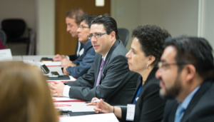 Juan Carlos Zepeda Molina (center), President Commissioner for CNH, met with IADC on 9 March in Houston. CNH, which has dual roles as Mexico's E&P contracts administrator and regulator, has been consulting with IADC to get industry input on regulations relating to well permitting and integrity. IADC has also been advising CNH on qualifications required to certify technical experts for the issuing of well permits.
