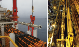 Figure 3: An MPD riser stack is  moved to the drill floor. For the majority of Petrobras' rig conversions, the operator opted to fit rigid pipes for riser auxiliary lines around the MPD riser stack. This kept the conventional telescopic joint unaltered.