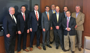 On 30 March, IADC members met with Louisiana Congressman Garret Graves (center) at Rowan's Houston offices to discuss issues related to drilling in the Gulf of Mexico and the BSEE Well Control Rule. From left are Alan Spackman, IADC; Jason McFarland, IADC; Tom Burke, Rowan; Congressman Graves; Chris Johnston, Ensco; Pharr Smith, Rowan; Mike Lawson, Rowan; David Faure, Rowan; and Michael Clark, Rowan.