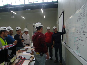 Students review PLC-driven circuitry that they designed during a Gateway class in Malta last year. The Introduction to Oil and Gas course not only screens candidates for aptitude and physical requirements, it also provides a standard baseline curriculum comprising RigPass, WellSharp awareness-level well control, behavioral training, technical math and more.