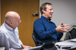 Mark Siegmund (right), BP Advisor for Wells Reliability and Chairman of the IOGP Wells Expert Committee BOP Task Force, speaks during a JIP Oversight Committee meeting in July. The JIP is working to expand its reach, with an additional 20 contractors and 30 operators invited to participate. The group also plans to place more focus on collecting data on surface BOPs in Phase Two, whereas Phase One focused more on subsea BOPs.