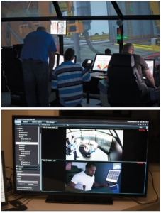 As students complete exercises in the simulator, both technical and human factors instructors are present in a connected room to observe the students' interactions. In order to add realism to the simulator exercises, instructors intentionally throw curve balls – such as incorrect instructions or radio failures – at the students. When the exercise concludes, students go through a debriefing from both a technical and a human factors perspective.