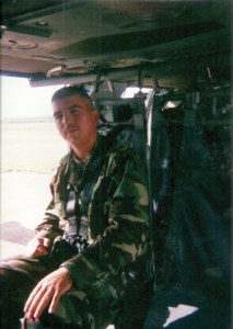 Abel Esquivel is pictured during a fly-by of New Orleans and the surrounding area after Hurricane Katrina in 2005. From there, he went to Naval Air Station Corpus Christi and Naval Air Station Kingsville to provide security for the bases and evacuees. For his service during this time and with other security issues, he was awarded several medals and Admiral's citations.