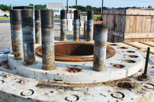 In June 2014, while a BOP was on deck for between-well maintenance, crew discovered that nine of 20 fasteners on the BOP's hydraulic connector flange had failed.