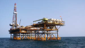 Sakson Drilling's SK602, a 2,000-hp land rig, is mounted on an offshore platform and drilling development wells in the Caspian Sea offshore Turkmenistan. The rig is working in a water depth of approximately 115 ft under a contract with Dragon Oil.