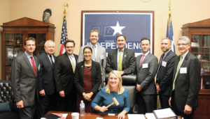 IADC members meet with Texas Republican Congressman Pete Olson (fourth from right) to discuss the US offshore drilling industry in Washington, DC, on 20 September. From left are Michael Lawson, Rowan Companies; Alan Spackman, IADC; Tony Seeliger, Pacific Drilling; Melissa Mejias, IADC; Brady Long, Transocean; Congressman Olson; Jason McFarland, IADC; Steve Schappell, Maersk Drilling; and James Sanislow, Noble Drilling Services. Seated is IADC's Elizabeth Craddock.