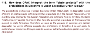 The above clarification of the meaning of shale projects was issued by OFAC on 18 November – more than two months after initial sanctions against Russia were published. This lag can be difficult for companies engaged in ongoing operations in a region and don't know how to proceed.