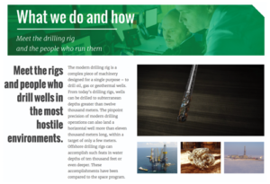 Many in the general public can barely tell a drilling rig from a cell-phone tower. What We Do and How is designed to introduce the public to the people who drill the world's wells and the tools they use to do so.
