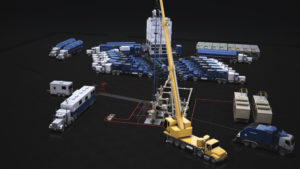 Schlumberger's Automated Stimulation Delivery Platform consists of three main components: four bulk delivery silos for storing proppant materials, a process trailer for hydration and blending, and an automated missile for pumping the proppants. All components are operated from a central control cabin. Field testing will continue through Q2 2017, and full commercialization is expected in Q3 2017. Photo Courtesy of Schlumberger.