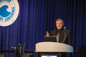 Gunther Newcombe, Head of Operations at UK Oil and Gas Authority (OGA), speaks at a UK North Sea panel session at the 2017 OTC on 3 May in Houston. His presentation focused on how the OGA is working with the industry to drive down decommissioning costs by 35% relative to the 2015 base case cost. The OGA estimates that decommissioning aging platforms on the UKCS could cost an estimated £52 billion.