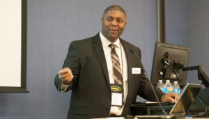 Fritz Golding, Director of Learning and Development at Noble Drilling, speaks at the NobleAdvances training and collaboration center in Sugar Land, Texas, on 30 March. Launched in 2013, the facility combines classroom-based courses with custom simulator environments to train students in drilling, marine, well control and subsea skills.