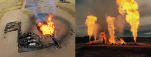 Figure 1: The fire started after a leak developed on a well while the well was being flowed back (left). Eventually, the heat from the burning well damaged the seals and wellhead equipment of neighboring wells, and fire engulfed all six wells on the pad (right).