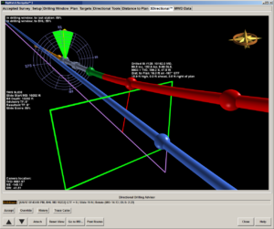 Nabors' RigWatch Navigator software provides a 3D visualization of the actual versus the planned wellbore. The driller can see the target they're trying to hit and the bit's position relative to that target.