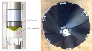 Figure 3 (middle) shows an illustration of the WRT installed within the test fixture (left) and a photo of the manufactured valve assembly.