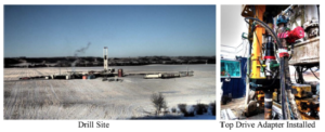 Left: Overview of rig and well site in Alberta, Canada. Right: Installation of the top drive adapter showing the separate swivel and hoses.