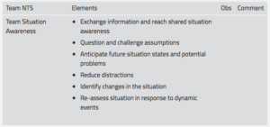 Figure 2: Example of observation tool for Team Situation Awareness