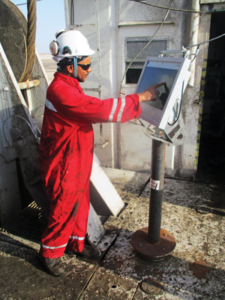 A worker accesses work procedures on a Dalma Energy rig in Oman. To ensure that procedures and processes are actually used at the worksite, a new delivery method was developed to ensure the relevant information for each procedure would be available where the work was to be done and that the correct procedures would be followed. Within months of implementation, safety performance has improved 82% against the 12-month average, and NPT has been reduced by an average of 22.5 hours on rigs where the initiative is in place, versus an NPT increase of 7.5 hours on rigs in the fleet where the program is not yet operational.