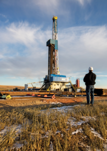 Figure 2: A Nabors rig drills a Hess well in North Dakota. Hess is active on the Operators' Group for Data Quality, which is addressing challenges related to data quality by providing data quality guidance, such as a contract addendum for rig contractors and other vendors. Photo Courtesy of Hess Corp.