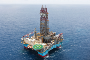 The Maersk Deliverer semisubmersible had been warm-stacked in Namibia since last year but is now in the process of being reactivated for work in Southeast Asia. Photo courtesy of Maersk Drilling.