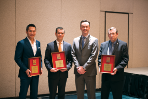 IADC President Jason McFarland (second from right) presented three Exemplary Service Awards at the 2017 IADC Annual General Meeting in Austin, Texas, in November. They went to (from left) Andy Poosuthasee, Jorge Lebrija and Dan Scott. Mr Poosuthasee recently served two terms as Co-Chairman of the IADC Supply Chain Committee, while Mr Lebrija serves as current Chairman. Mr Scott, now retired, is recognized as one of Baker Hughes' most prolific inventors. He has also published more than 65 papers and written book chapters on drilling technologies.
