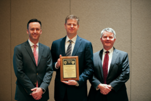 Thomas Burke (middle), President and CEO of Rowan Companies, was recognized as the 2017 IADC Contractor of the Year. He received the award during the IADC Annual General Meeting in Austin, Texas, on 10 November from IADC President Jason McFarland (left) and Clay Williams, Chairman, President and CEO of National Oilwell Varco.