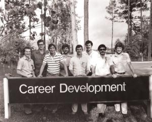 Steven Brady (fourth from right) is pictured with fellow trainees at a Baroid Mud School in Houston around 1983.
