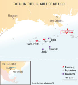 Chevron has announced an oil discovery at the Ballymore prospect in the Mississippi Canyonarea of the US Gulf of Mexico.
