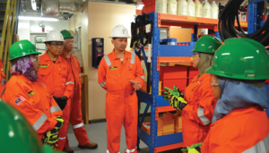 Izwan Megat (center) oversees seven jackups, five workover units and five manufacturing plants as Head of Operations for Malaysia-based UMW Oil & Gas.