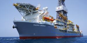 The initial Ballymore well was drilled by Pacific Drilling's Sharav deepwater drillship. Photo Courtesy of Chevron.
