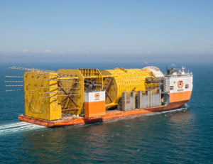 Due to size, Boskalis had to transport the Aasta Hansteen spar hull horizontally for its two-month journey from Ulsan, South Korea, to an inshore discharge location in Norway. Once the topside arrived, Boskalis conducted its largest-ever dual barge floatover operation to mate the topside and spar hull.