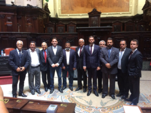 Dr Leandro Luzone (fifth from right), IADC Brazil Chapter Executive Secretary, met with multiple state legislators during the chapter's efforts to prevent changes to the Repetro tax regime this year. Pictured include Macaé city councilors Maxwell Vaz (far left), Marvel Maillet (fourth from left) and Val Barbeiro (fifth from left), as well as Jose Walmir with SPE (fourth from right); Guilherme Abreu, Macaé's Conventions and Visitors Bureau President (third from right); and Evandro Cunha, Firjan's Coordinator in Macaé (second from right).