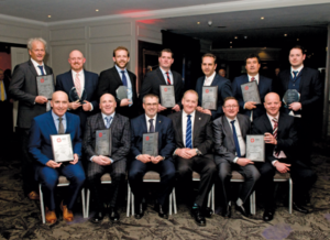 The IADC North Sea Chapter recognized member companies for their safety performance in a ceremony on 20 April in Aberdeen. Back row from left are Ole Maier, Odfjell Drilling; Ally Malcolm, Awilco Drilling; Ed Wheler, KCA Deutag; Jasper Goeting, Paragon Offshore; Bram Leerdam, Paragon Offshore; Julian Hall, Ensco; and Darren Rainnie, Ensco. Front row from left are Paul Ellis, Archer; Clive Tulleth, North Atlantic Drilling; Ian Paterson, Transocean; Peter Wilson, IADC NSC Chairman and Rowan Drilling; Bill Cairns, Diamond Offshore; and Patrick Gardiner, Diamond Offshore.