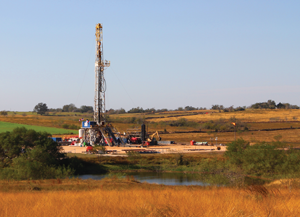 Independence Contract Drilling's ShaleDriller 211 rig works on a multiwell pad in Washington County, Texas. The ShaleDriller rigs all feature super-spec attributes, including omnidirectional walking capabilities to move easily from well to well and pad to pad.