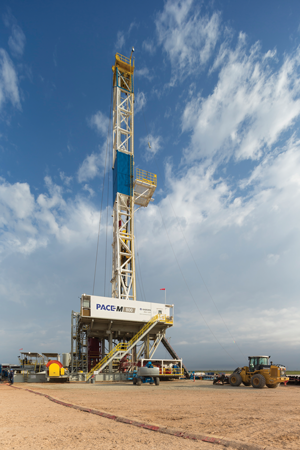 The Nabors PACE M800 rig features high-spec requirements, including increased setbacks, high-pressure mud systems and integrated walking packages, for drilling longer laterals in unconventional plays.