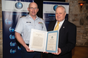 Captain Josh Reynolds (left) of the US Coast Guard presents IADC's Alan Spackman (right) with a Meritorious Public Service Award at the Offshore Operators Committee 70th Anniversary General Meeting in Austin, Texas, on 6 June. Mr Spackman retired in 2018 after more than 27 years at IADC dedicated to offshore safety and regulations.