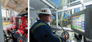 Well control, stripping, cementing and operational excellence must all be aligned with the automation features of the hardware on the rig, including the choke manifold (left), as well as the driller HMI (right).