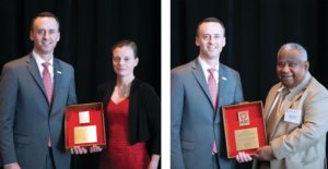 IADC President Jason McFarland presented plaques to Siv Hilde Houmb (left) and Arun Karle (right) on 8 November at the 2018 IADC Annual General Meeting in New Orleans, La., in recognition of their Exemplary Service Awards.